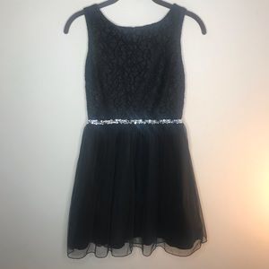 Black Sequin and Tool Short Dress